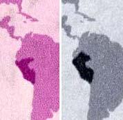 Il dettaglio del confine peruviano, nelle due versioni